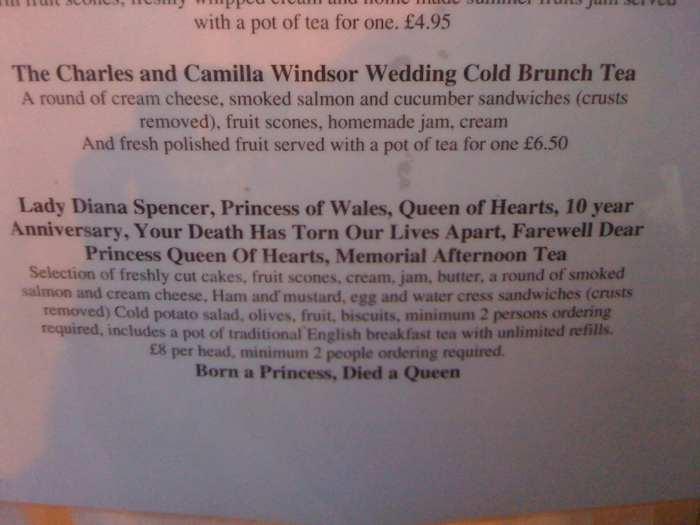 "Diana, Princess of Wales memorial tea: ""Lady Diana Spencer, Princess of Wales, Queen of Hearts, 10 year Anniversary, Your Death Has Torn Our Lives Apart, Farewell Dear Princess Queen of Hearts, Memorial Afternoon Tea"""