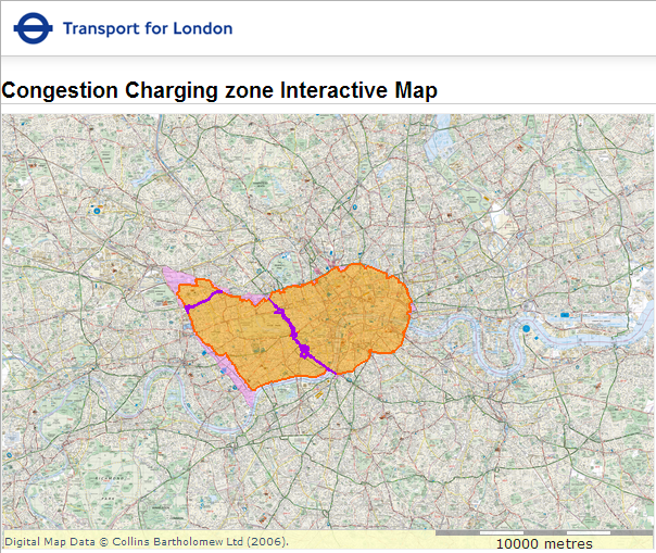 Map of London's congestion charge zone