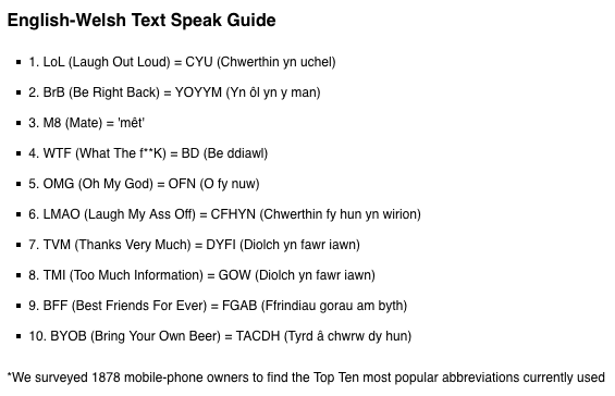 Right mobilephone's English-Welsh texting phrasebook